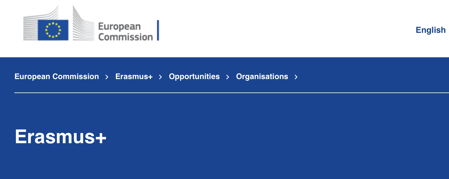 Homepage of ERASMUS+ at the European Commission