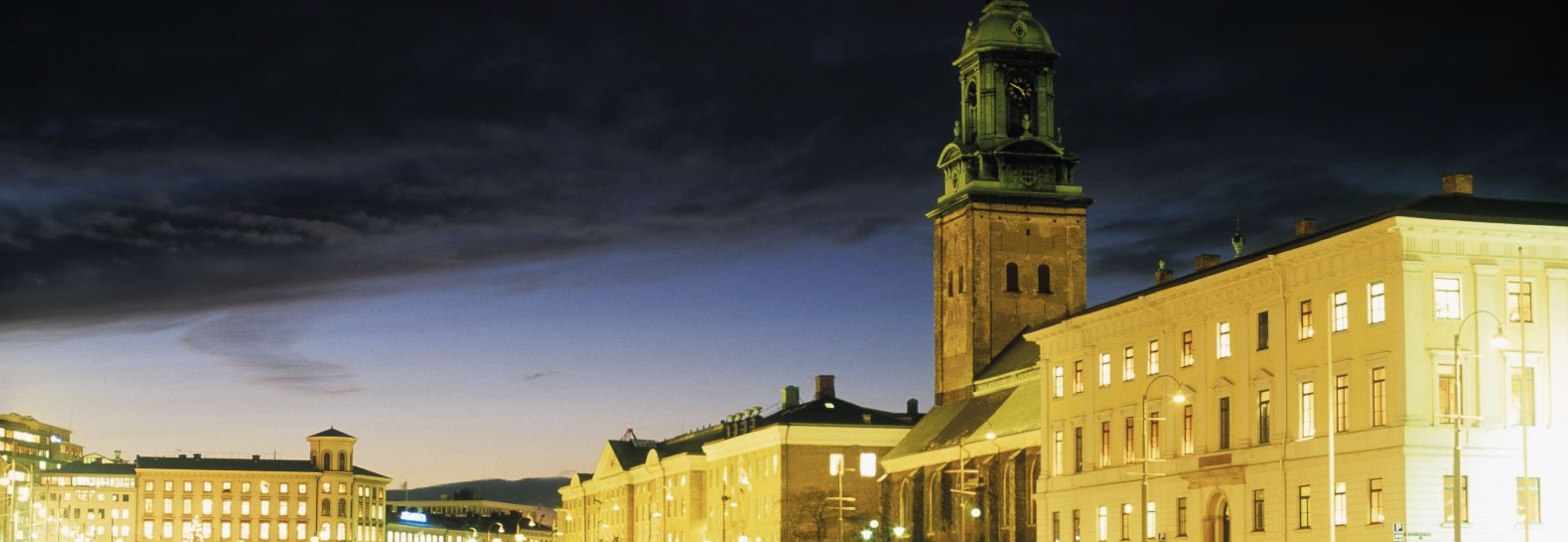 Night view on Christinae kyrka is beautiful church located in the city centre, more info at https://www.goteborg.com/en/christinae-kyrka/